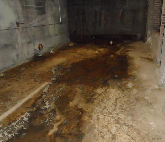 Basement hallways with water and sewage backup