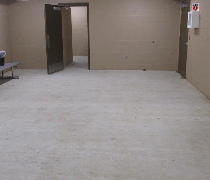 Locker Room with floor cleaned and dry