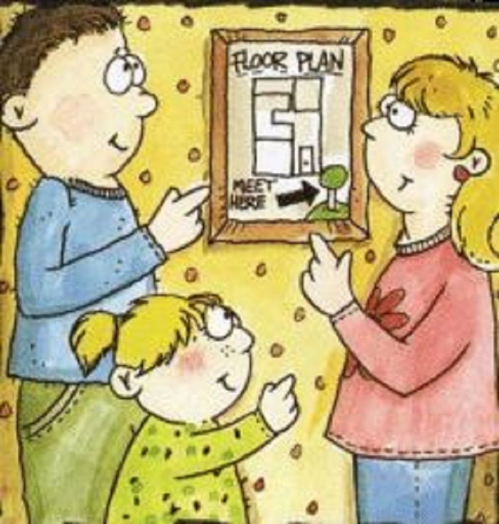 SERVPRO says...have a plan! - Image of cartoon people looking at plan details hung on wall
