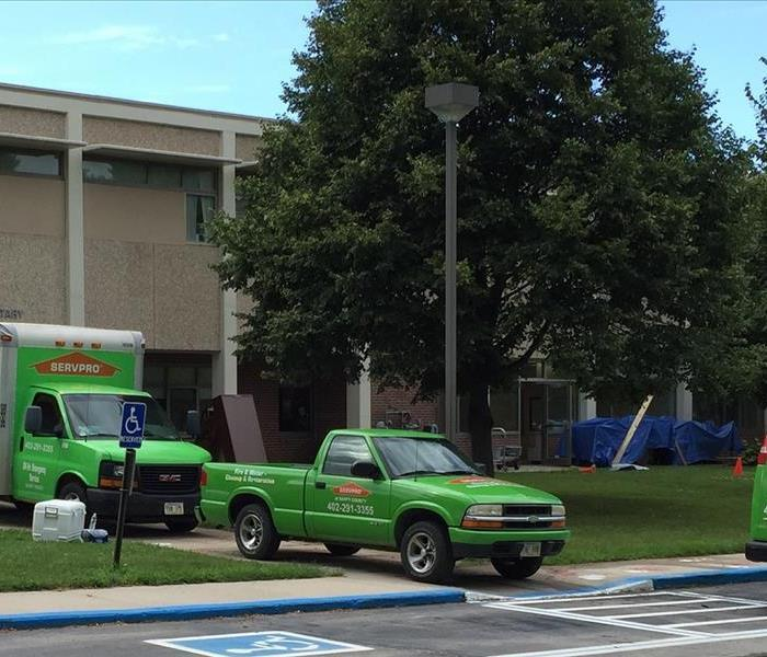 SERVPRO trucks at a job site