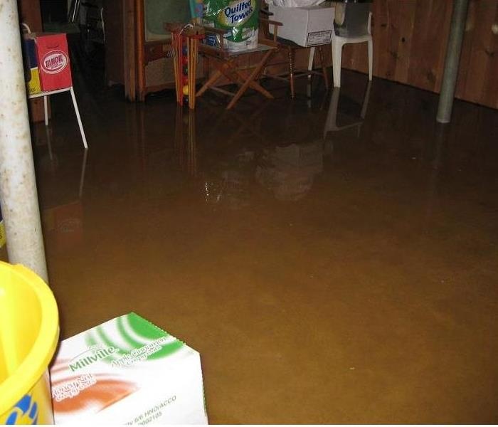 Flooded Basement with contents floating